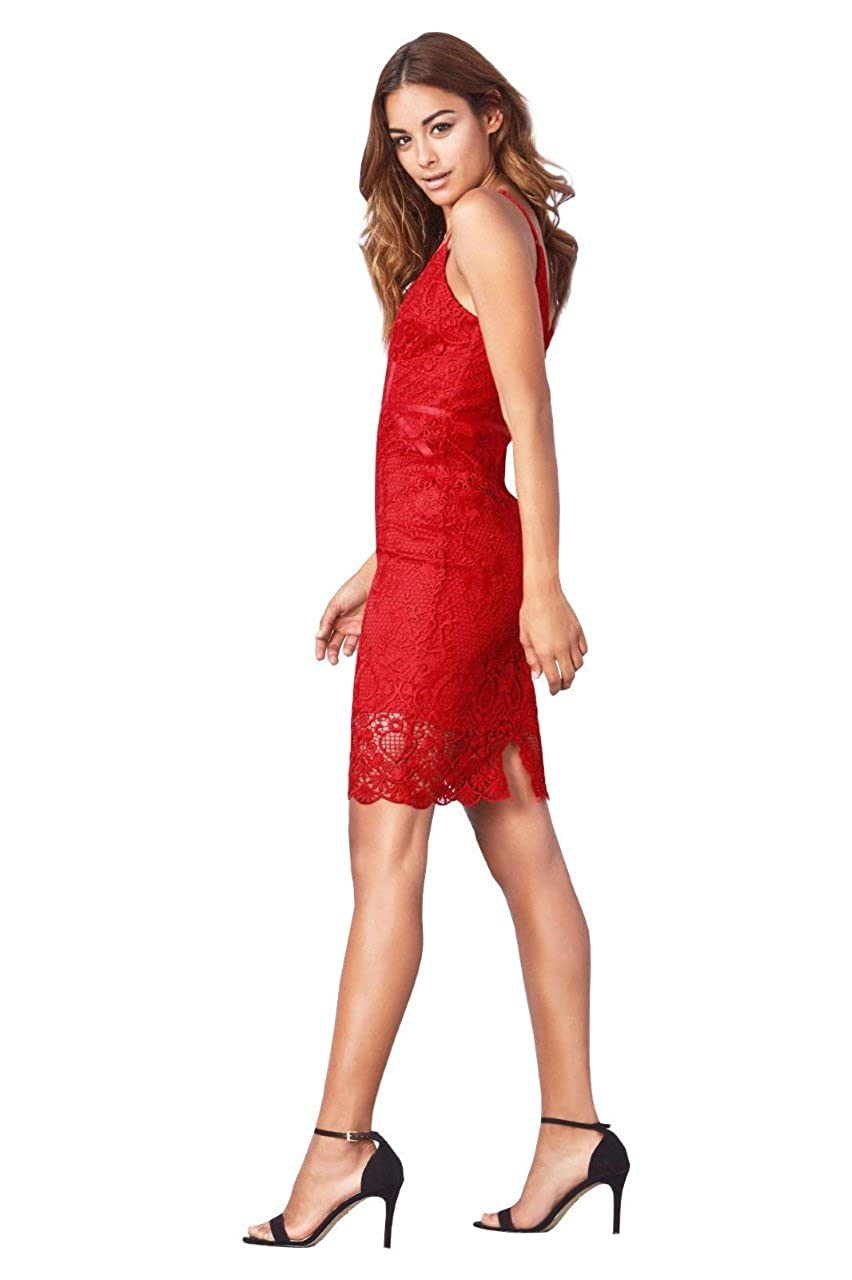 LIPSY All Over Lace Red Corset Dress with Back Zip Fastening Sizes 4-12 (12): Amazon.co.uk: Clothing