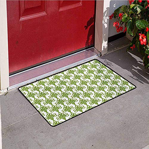 Jinguizi Irish Welcome Door mat Entangled Clover Leaves Twigs Celtic Pattern Botanical Filigree Inspired Retro Tile Door mat is odorless and Durable W15.7 x L23.6 Inch Green Cream