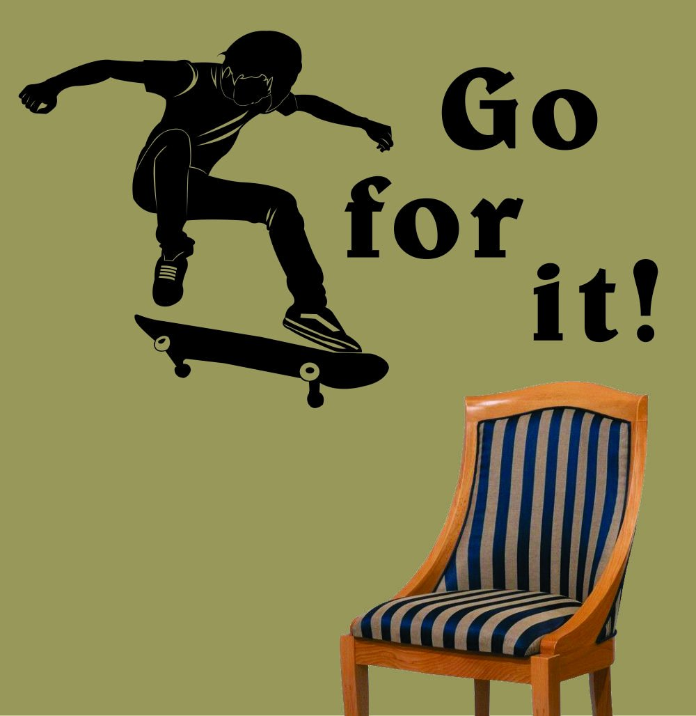 Rockin skateboard decor webnuggetz largeeasy instant decoration wall sticker wall mural sport skateboard skee board skate board go for it amipublicfo Images