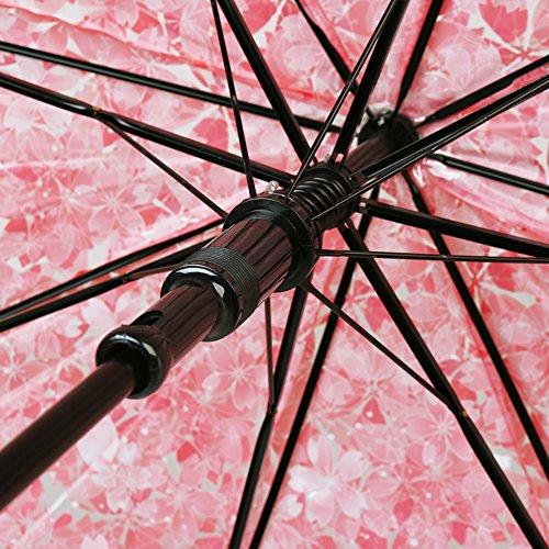 Cherry umbrella, romantic and compact transparent umbrella and rainproof cherry blossom pattern, semi-automatic (pink) by RiseSunUS (Image #3)