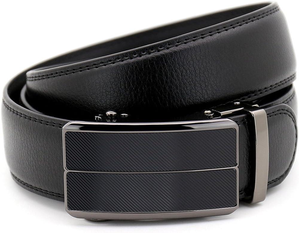 KHC Mens Belt 100/% Leather Belt Ratchet Automatic Adjustable Buckle