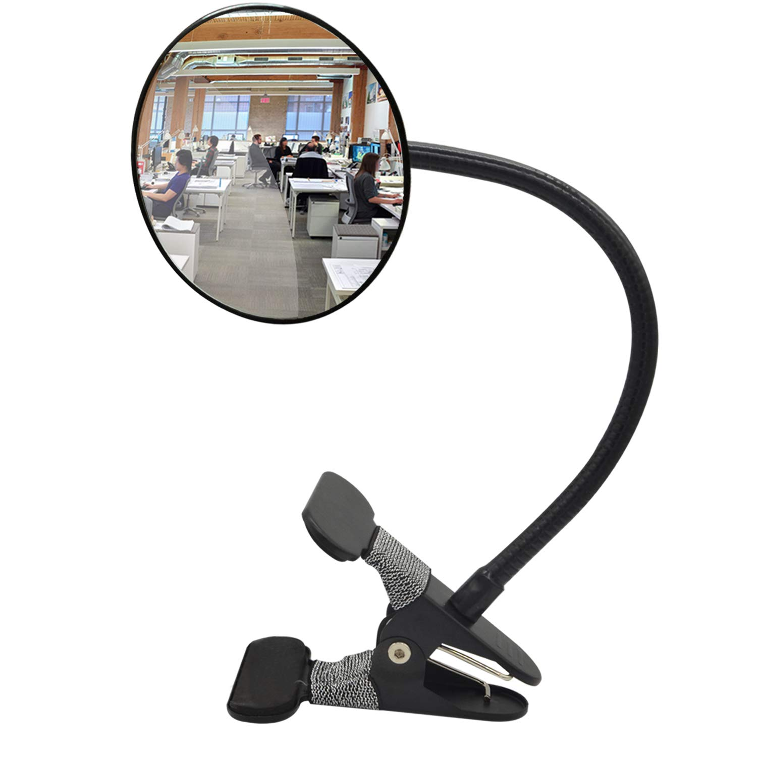 """Ampper Acrylic Clip On Rear View Cubicle Mirror, Flexible Convex Security Mirror for Personal Safety Desk Rearview Monitors or Anywhere (3.75"""", Round) 61mGw2RudjL"""