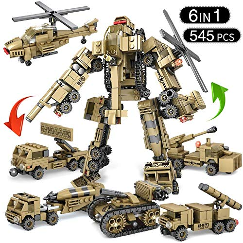 VSG-UF 545Pcs Military Tank Vehicles Transform Robot Building Blocks Compatibleed Ww2 Helicopter Car 6 in 1 Armored Mecha Toys Kid