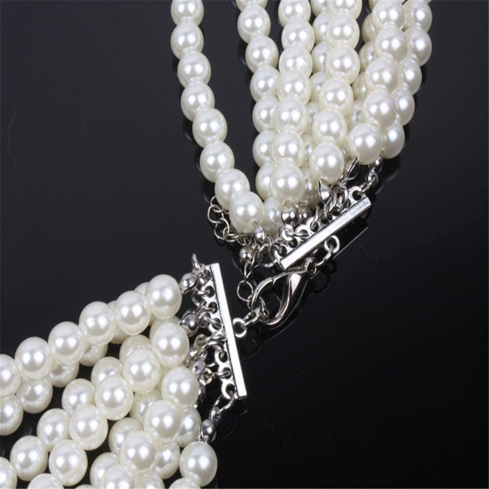FeliciaJuan Women Jewelry Necklace Womens Multilayer Faux White Pearl Long Necklace Earring Set Sweater Chain Color : White, Size : Free Size
