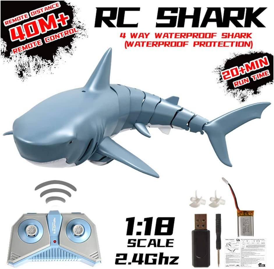 Mini RC Fish Shark Boat, 2.4G Remote Control Shark Toy, Simulation Remote Control Shark Boat & Submarines, Swim in Water, Electric Racing Shark for Swimming Pools and Lakes for Kids Adults (2.4G)