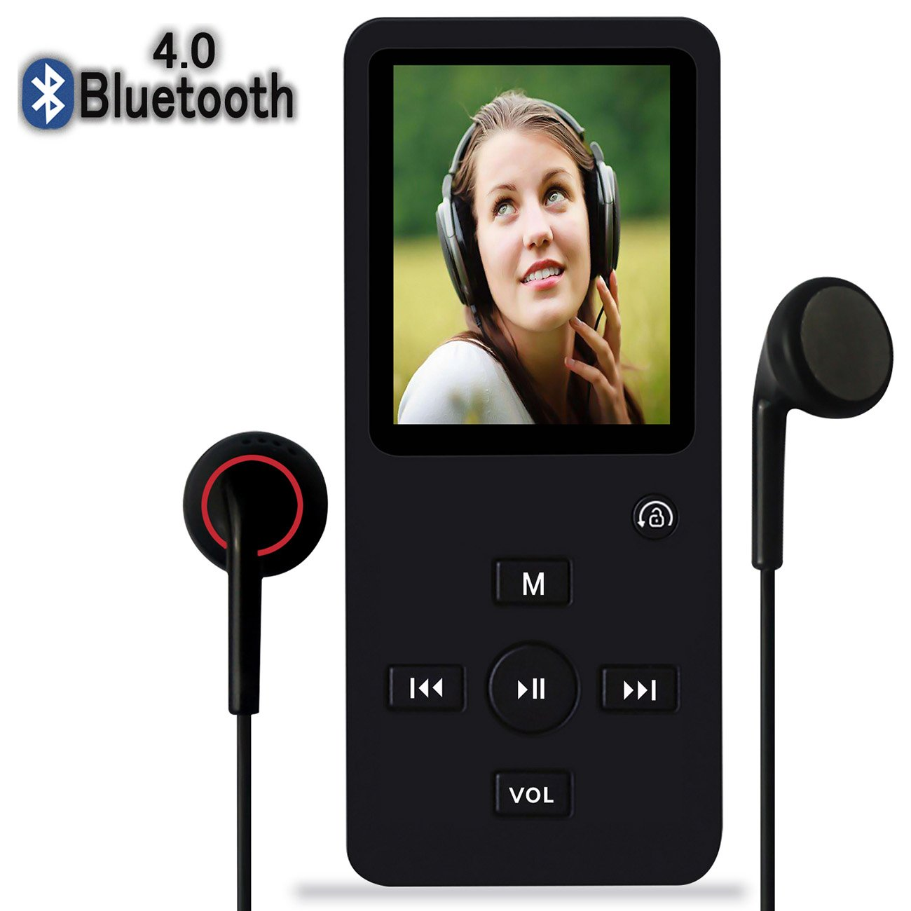 MP3 Player with Bluetooth,8GB Bluetooth MP3 Music Player with FM Radio/Speaker,Lossless Sound,Support Shuffle,Voice Recorder,Video,Photo,EBook,Pedometer for Running Walking