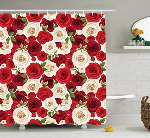 Ambesonne Roses Decorations Collection, Bunch of Colorful Roses Blooms Leaves Luxury Natural Close Up Artwork, Polyester Fabric Bathroom Shower Curtain Set with Hooks, Red Ivory Green