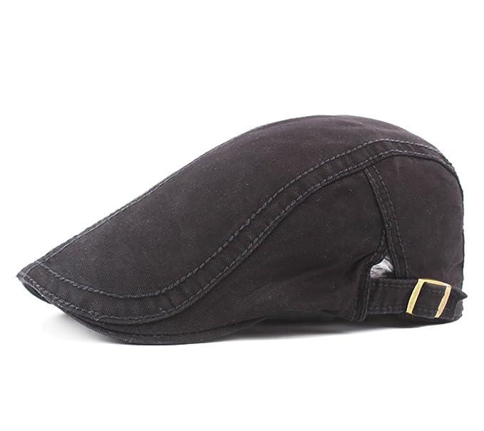 Men s Cotton Flat Snap Hat Ivy Gatsby Newsboy Hunting Cabbie Driving Cap  (Black) df47b420a2ab