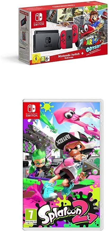 Nintendo Switch - Consola + Super Mario Odyssey Bundle (Código Descarga) + Splatoon 2: Amazon.es: Videojuegos
