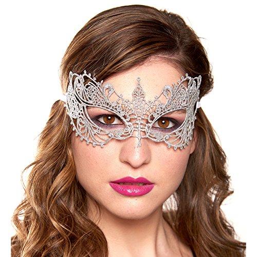 Silver Masquerade Mask (Masquerade Mask, Stunning All Lace Goddess Ana Masquerade Mask, Silver)