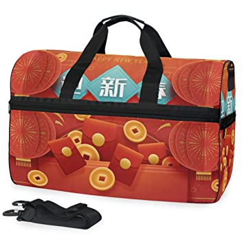 a28fd89b392009 Amazon.com | Happy Chinese New Year 2019 Of The Pig Travel Duffle Gym  Fitness Bag with Shoes Compartment | Travel Duffels