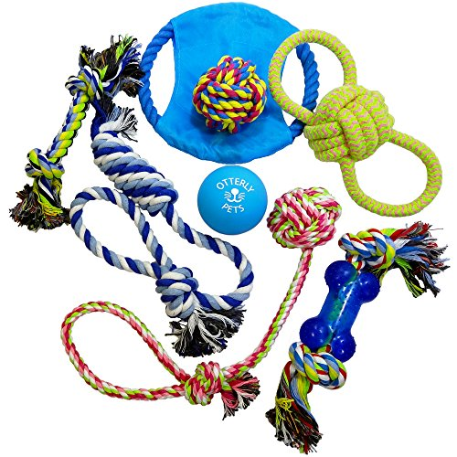 Otterly Pets Dog Toys (8-PACK) - Assorted Tough Ropes and a Single Near Indestructible Natural Rubber Ball for Small to Medium Dogs by Otterly Pets