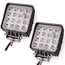 STANSEN 2pcs 48W Waterproof Square LED Work Light 6000k Spot Beam 4200Lumens for ATV Jeep Wrangler 4x4 Rv Trailer Fishing Boat Tractor Truck