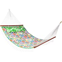 """Lazy Daze Hammocks 55"""" Double Layered Quilted Fabric Hammock Swing with Pillow, Elegant Tassels and Spread Bar Heavy Duty Stylish for Two Person, Floral"""