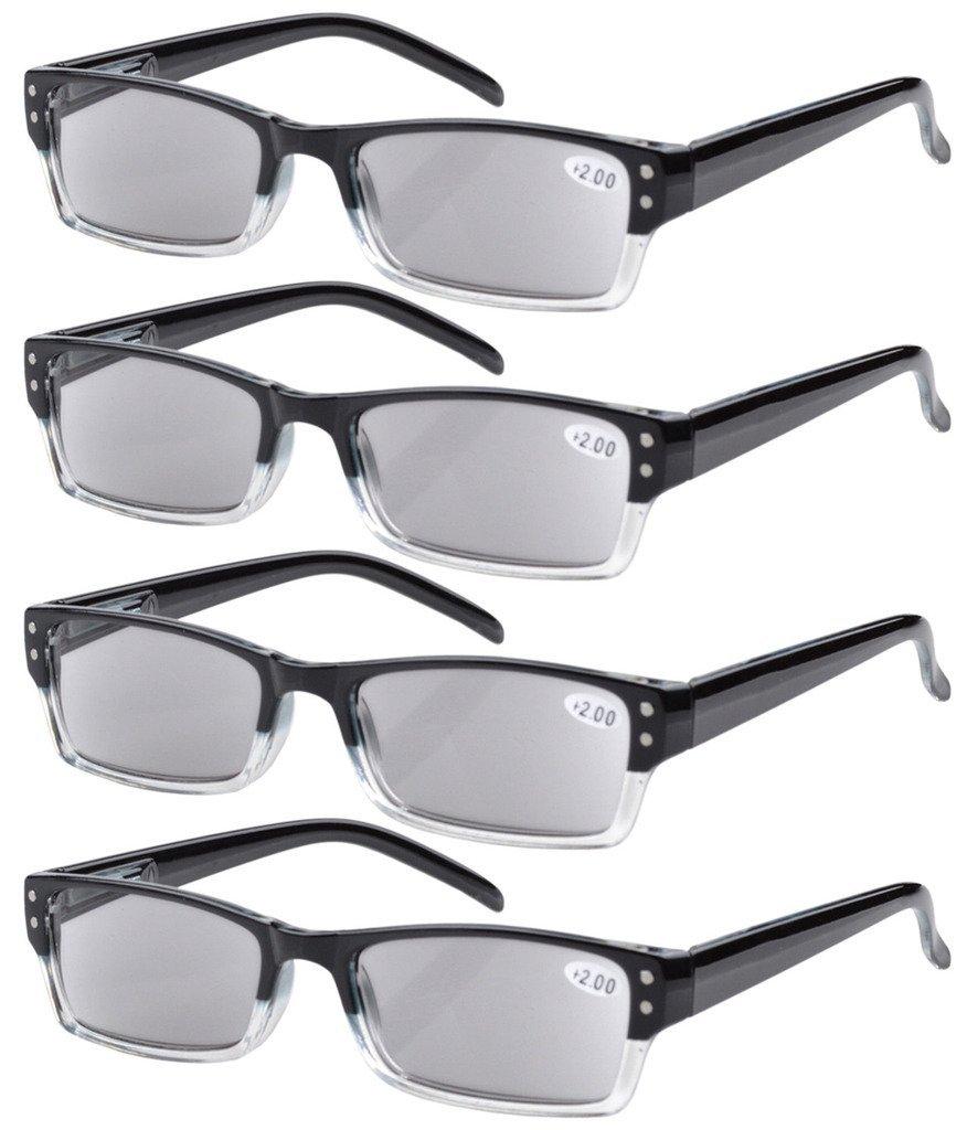 d2fa45fb8c92 Amazon.com  Eyekepper 4-pack Spring Hinges Rectangular Reading Glasses Sun  Readers Grey Lens +1.25  Health   Personal Care