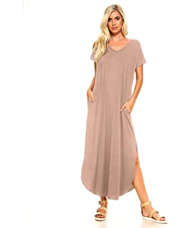 acd4a8113f0 Isaac Liev Short Sleeve Maxi Dress with Pockets Loose Casual Long Dress  with Scoop Neck,