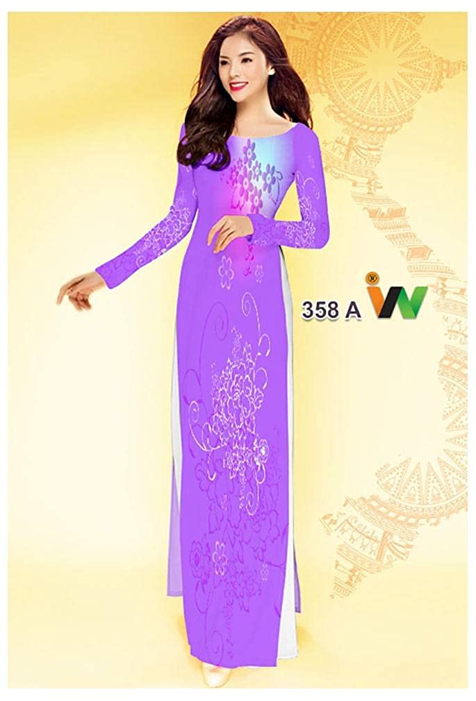 Ao Dai ADVN00928 Silk 3D All Size Traditional Vietnamese Long Dress Collections with Pants