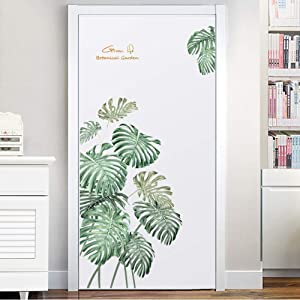 Poorminer Green Plants Fresh Tropical Leaves Wall Decal Nature Palm Tree Leaf Plants Wall Sticker DIY Art Murals for Kids Baby Bedroom Living Room Classroom Offices Bathroom Home Decoration (Leaf A)