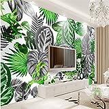300cmX210cm Nordic simple black and white tropical plants turtle leaf background wall custom large fresco silk silk wallpaper,300cmX210cm