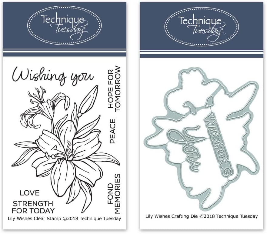 Die Cuts Flowers Rubber Stamps Lily Wishes Clear Stamps with Matching Metal Dies Card Making Supplies Craft Dies Clear Rubber Stamps Photopolymer Stamps