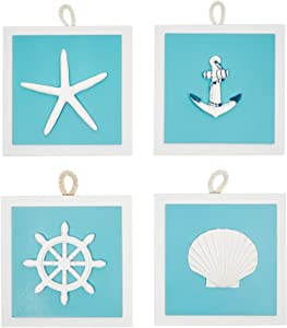 Okuna Outpost Beach Home Wall Décor, Starfish and Seashell Decorations (Blue, 4 Piece Set)