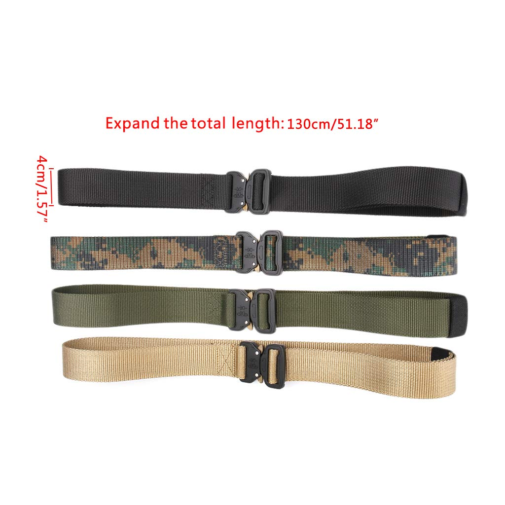 JERKKY Cintur/ón t/áctico para Exteriores Cintur/ón de Servicio Pesado Nylon Hebilla met/álica Caza Cintura Correas Negro