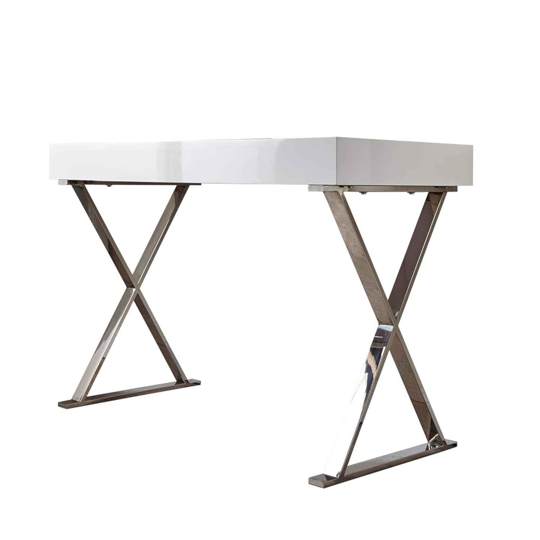 Riess Ambiente Design Schreibtisch Grace Hochglanz weiß Modern Design Bürotisch Frisiertisch Tisch Schminktisch