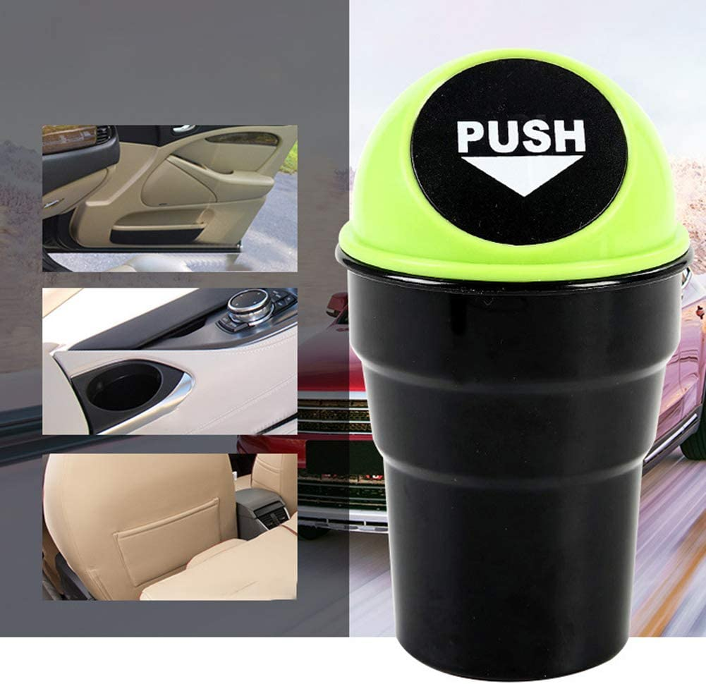 minishop659 Trash Can Waste Basket Stylish Cup Shape Push Lid Car Vehicle Desktop Plastic Trash Can Garbage Bin Blue