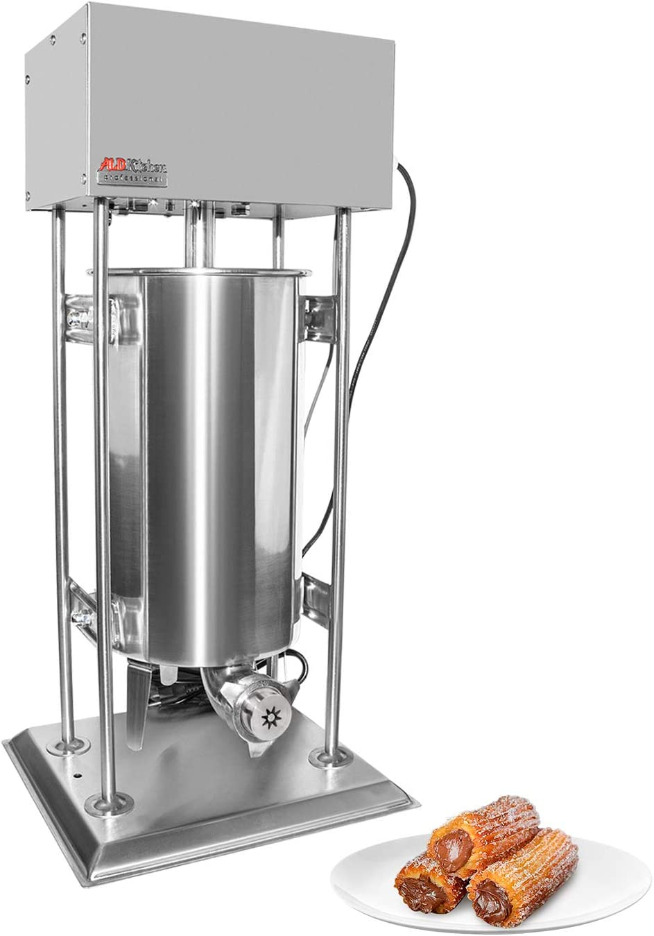 ALDKitchen Churro Maker   Vertical Type Electric Churro Machine   Stainless Steel   15L Capacity   Pedal Control