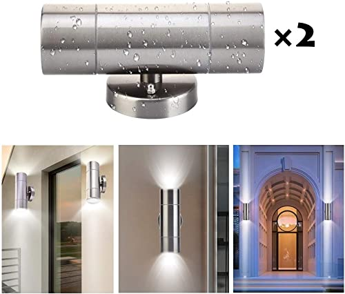 TOHUU Outdoor Wall Light Fixtures,Up Down Wall Lamp Sconce,IP65 Waterproof Cylinder Porch Light,Stainless Steel LED Wall Mount Light,Suitable for Garden Patio Lights,Bulbs Not Included 2-Pack