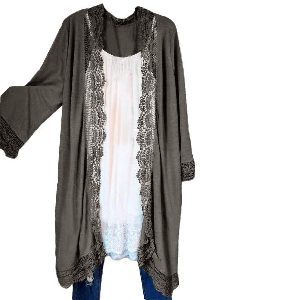 TOPUNDER Kimono Cardigan Lace Tops Open Front Cardigan Women Coat Tops