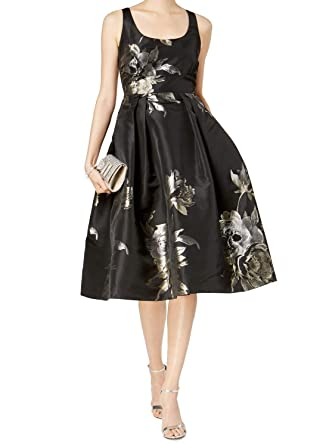 82622d16af77 Ivanka Trump Women s Social Floral Midi Full Skirt Dress Black Gold Metallic  8 at Amazon Women s Clothing store