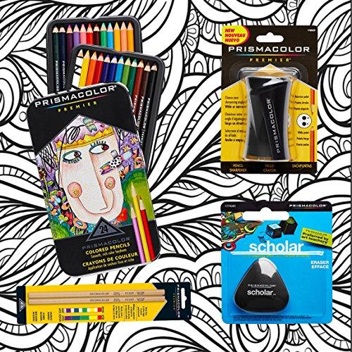 Prismacolor 24-Count Colored Pencils, Triangular Scholar Pen