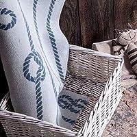 Yıkanabilir Doğal Pamuklu Mavi Banyo Halısı Rope