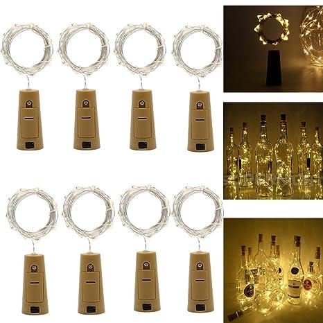 Luces Led de Vino Botella,Cadenas Luces para Botella de Bricolaje,Fiesta, Navidad
