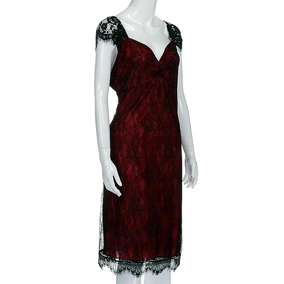 K-youth® escote en v manga larga vestido rojo mujer talla grande vestido de fiesta mujer vestidos espalda descubierta: Amazon.es: Ropa y accesorios