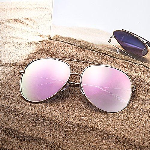 Hombre de Para Rosa Mujer Aleación Lente Plateado Anteojos Marco Aviador Gradiente de Gafas Gradiente Sol qAYSanf