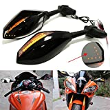 Motorcycle Rearview Side Mirrors With LED Turn Signal Integrated Indicator For Racing Bike Sport Bike