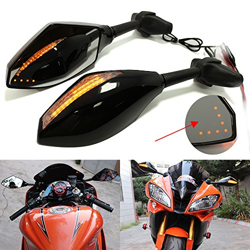 Motorcycle Rearview Side Mirrors With LED Turn Signal Integrated Indicator For Racing Bike Sport Bike by Rich Choices