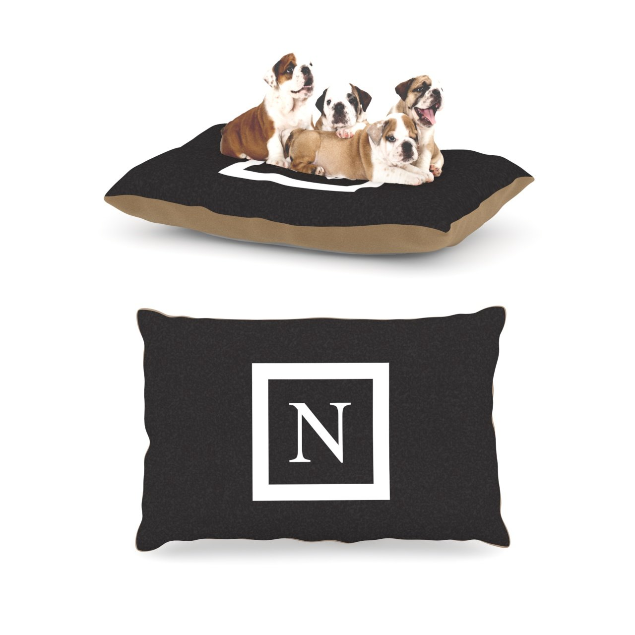 N Large 30\Kess InHouse Solid Black Fleece Dog Bed, 30 by 40Inch, Monogram LetterN