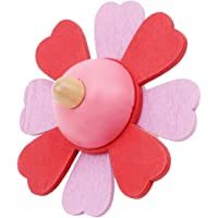 LALANG Kids Lovely Wooden Flower Gyro Develop Intelligence Spinning Toy(red)