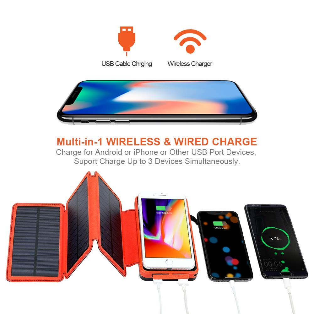 ORITO Solar Charger 25000mAh, Wireless Power Bank with 3 Solar Panels and 2.1A Dual USB Ports External Battery Pack Portable Solar Battery Charger for Outdoors for iOS Android Tablet Smartphones
