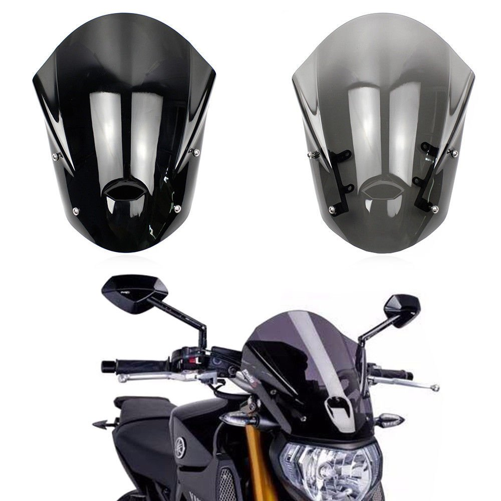 Smoke Windshield Windscreen w//Mounting Bracket for 2013-2016 Yamaha MT-09 FZ-09