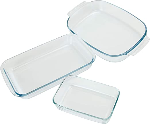 Juego de 3 platos de cocina de horno de vidrio | Bandejas ...