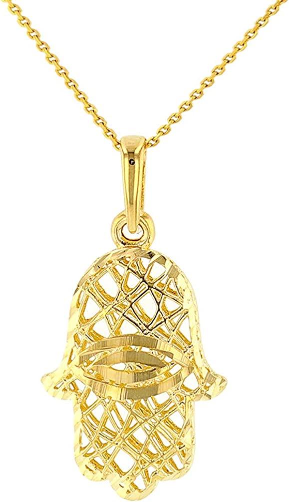 Textured 14K Yellow Gold Hamsa Hand of Fatima with Evil Eye Pendant Necklace