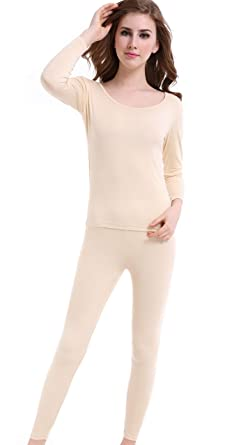 05dc57ead59c63 Winter Thermal Underwear Thin Long Johns Scoop Neck Base Layering Set for  Women