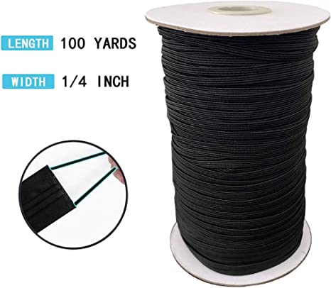 30 Yards Length 1//4 Inch Width Briaded Black Elastic Bands for Sewing Rope Heavy Stretch Knit Elastic Spool