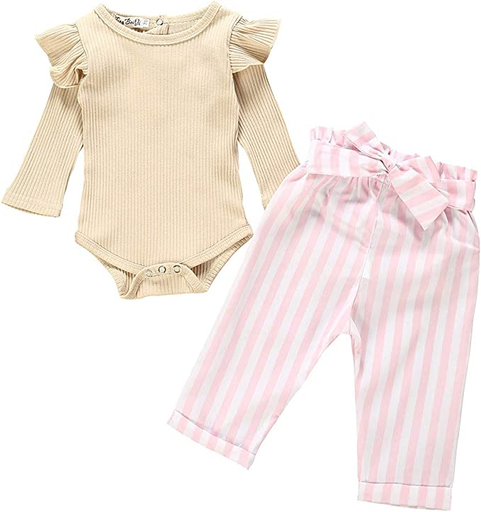 Solid Newborn Baby Girl Long Sleeve Tops Romper Ruffle Pants Outfits Clothes