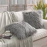 Decorative Pillow Cover - PHANTOSCOPE Decorative New Luxury Series Merino Style Grey Fur Throw Pillow Case Cushion Cover 18
