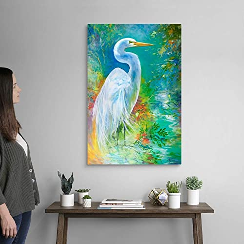 White Egret Landscape Waters Canvas Wall Art Print